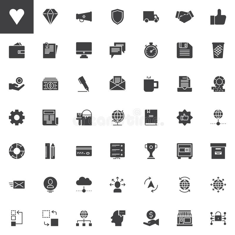 Universal business vector icons set stock illustration