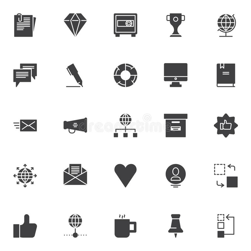 Universal business vector icons set. Modern solid symbol collection, filled style pictogram pack. Signs, logo illustration. Set includes icons as Document vector illustration