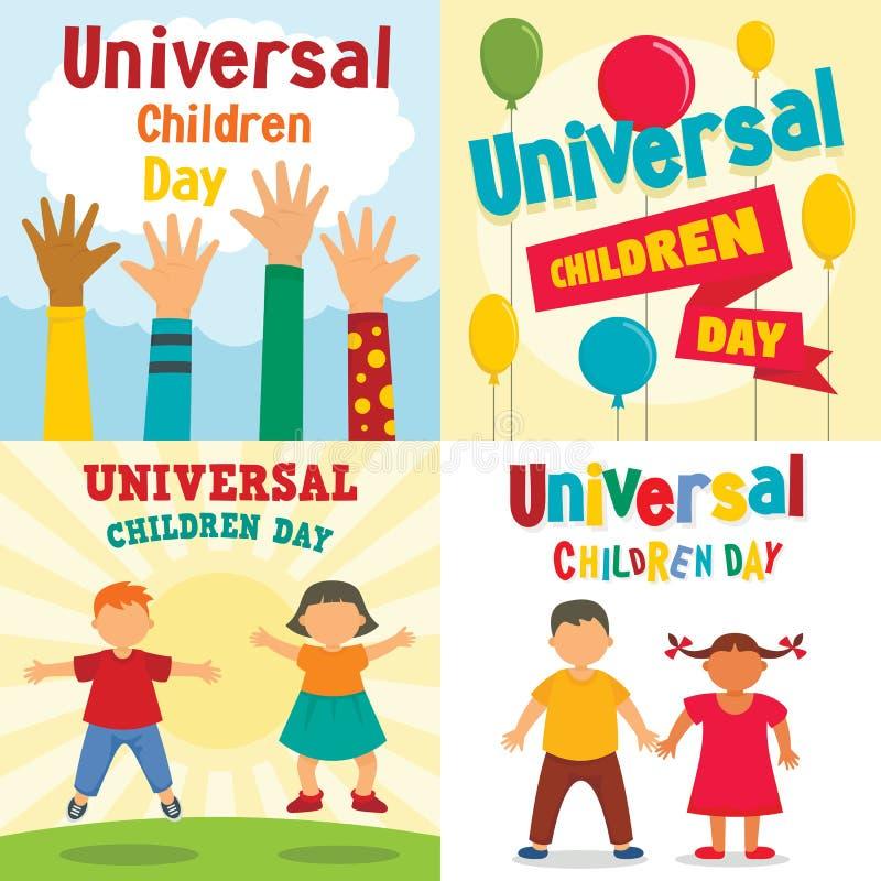 Universal children day banner set, flat style royalty free illustration