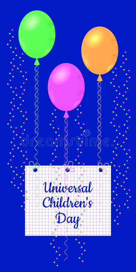 Universal Childrens Day. The air balloons kept the sheet from the school notebook in a cage, on which the name of the event is wri stock illustration