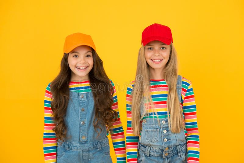Universal childrens day. Promote international togetherness awareness among children worldwide and improving childrens. Welfare. Happy girls. Friendly and happy stock photo
