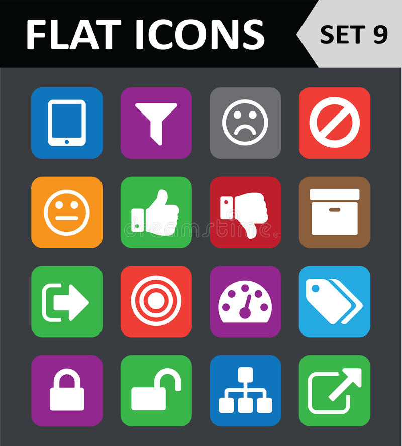 Universal Colorful Flat Icons. Set 9 stock illustration