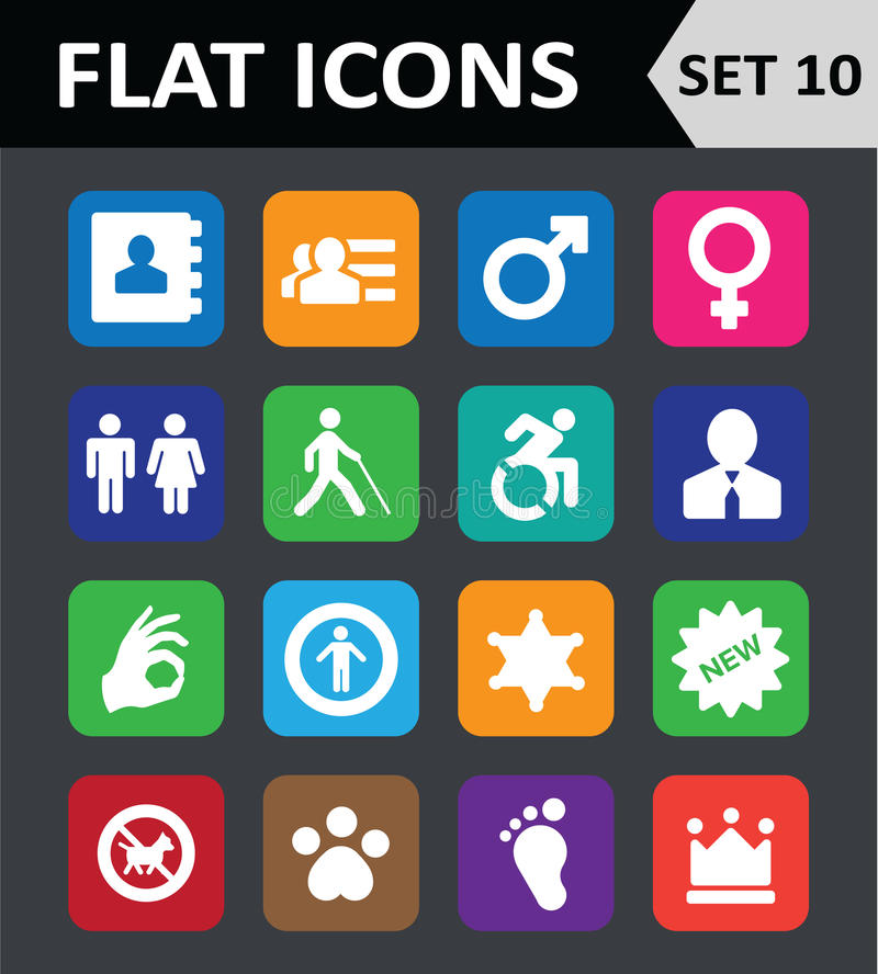 Download Universal Colorful Flat Icons. Stock Images - Image: 35347754