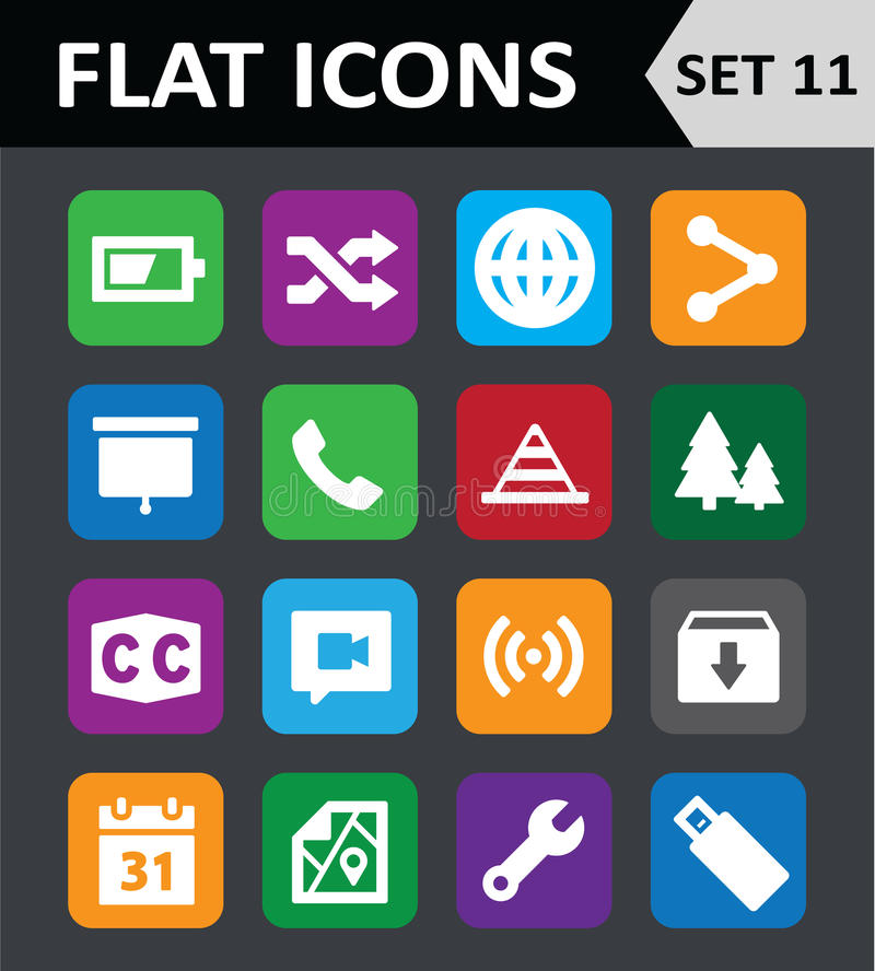Download Universal Colorful Flat Icons. Stock Vector - Illustration of business, interface: 35347780