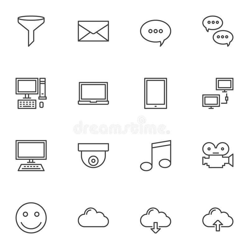 Universal computer line icons set vector illustration