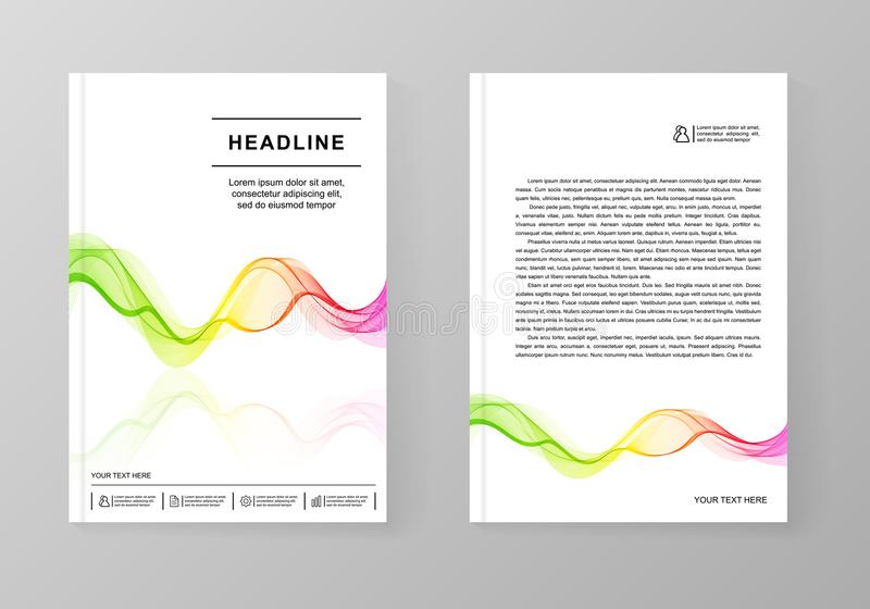 Universal Covers Design With Gradient Wave Line For Book Bookle