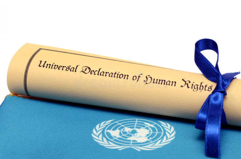 Universal Declaration of Human Rights. United Nations concept royalty free stock photography