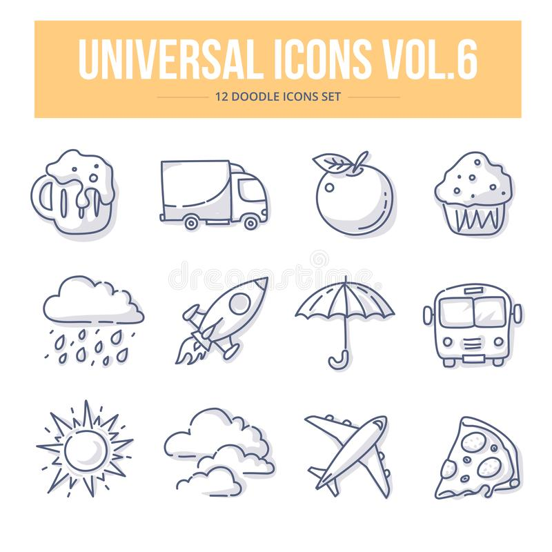 Universal Doodle Icons vol.6 stock illustration