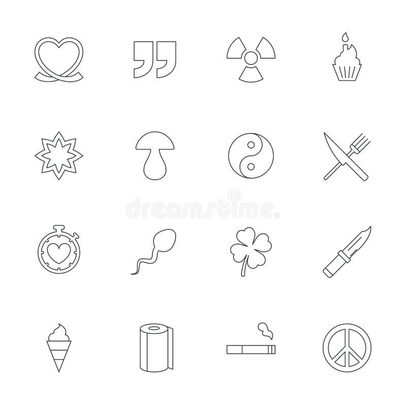 universal för designsymbolsillustration dig Citationstecken, bandhjärta och kaka royaltyfri illustrationer