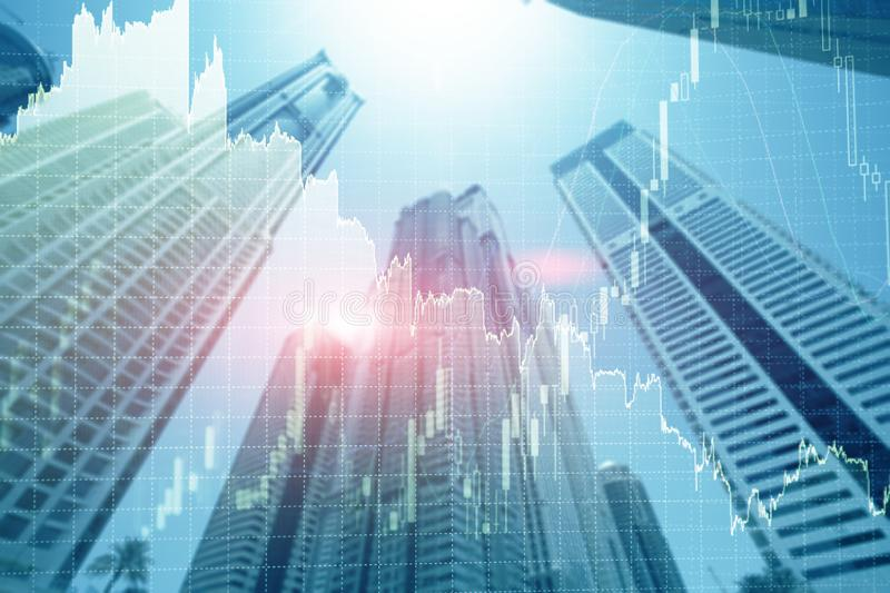 Universal finance abstract background Economic Trading growth graph chart on futuristic dubai city. Double exposure stock photos
