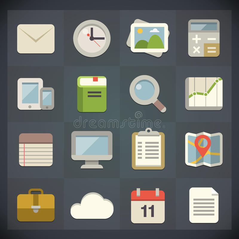Universal Flat Icons for Web and Mobile Set 1 vector illustration