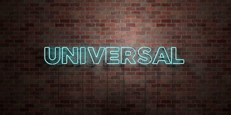 UNIVERSAL - fluorescerande tecken för neonrör på murverk - främre sikt - 3D framförd fri materielbild för royalty stock illustrationer