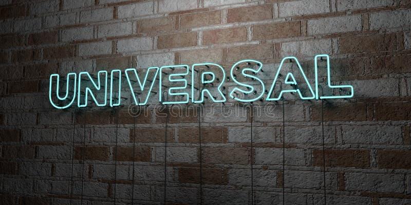 UNIVERSAL - Glödande neontecken på stenhuggeriarbeteväggen - 3D framförde den fria materielillustrationen för royalty stock illustrationer