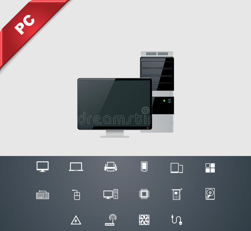 Universal glyphs 25. Computers. Set of simple technology related pictograms vector illustration