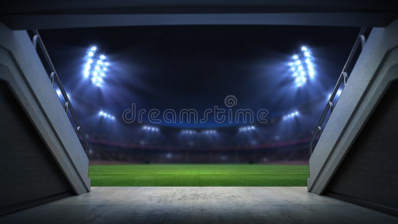 Player entrance to illuminated stadium full of fans. Football stadium sport theme digital 3D background advertisement illustration vector illustration