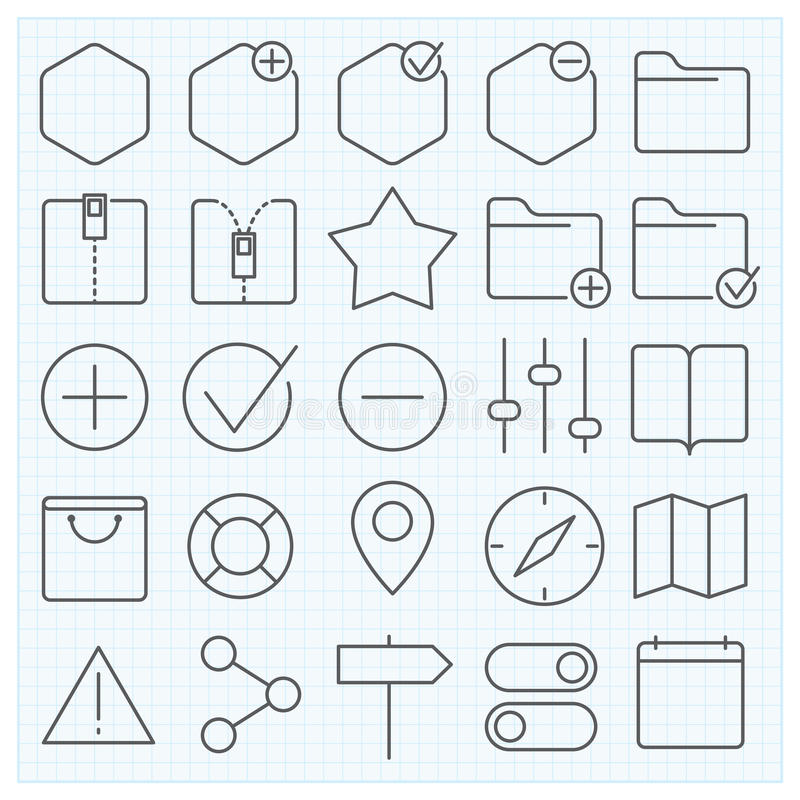 Universal GUI icons set. Universal GUI vector icons set for web design and applications royalty free illustration