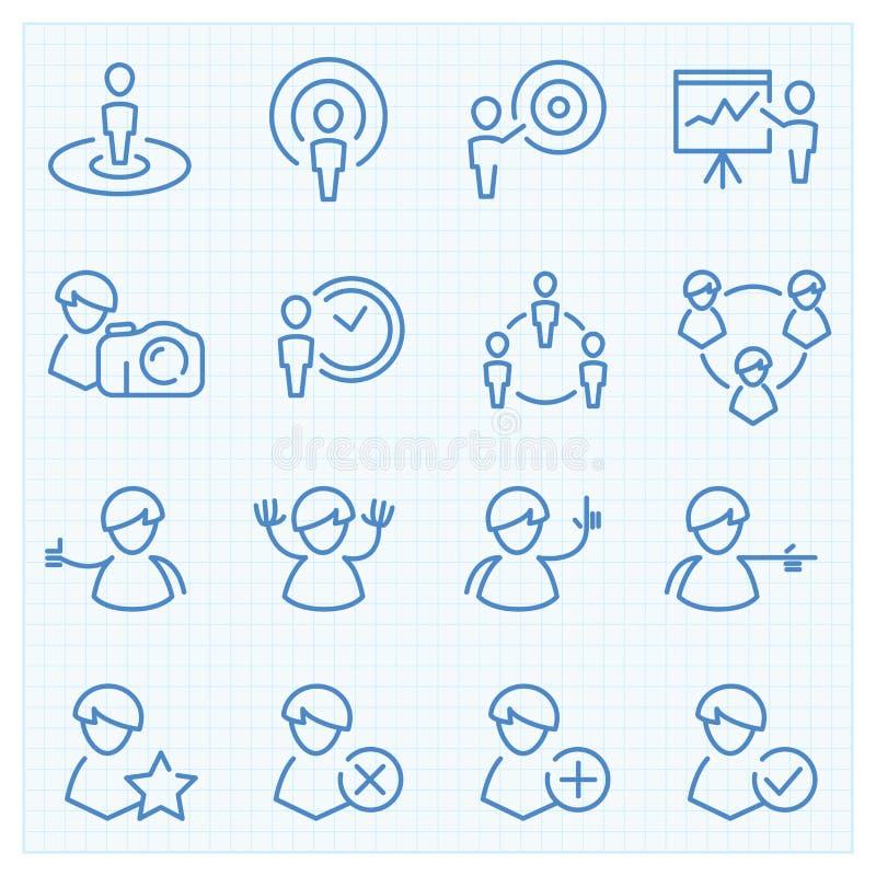 Universal GUI people theme icons set vector illustration