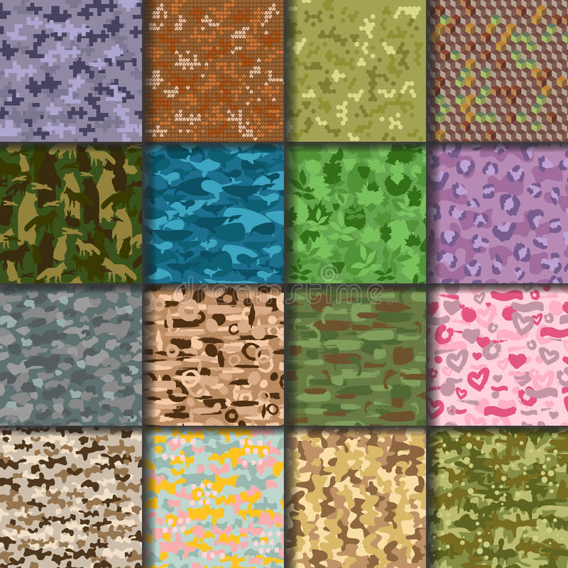 Universal handdrawn seamless pattern abstract fill military or hunters background vector illustration. vector illustration