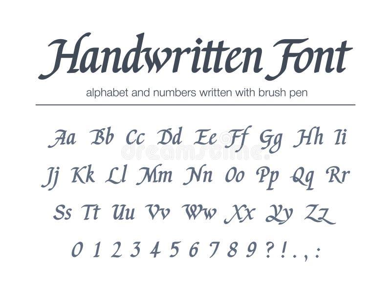 Universal handwritten italic font. Hand drawn alphabet written with brush pen. Retro style classic calligraphy script stock illustration