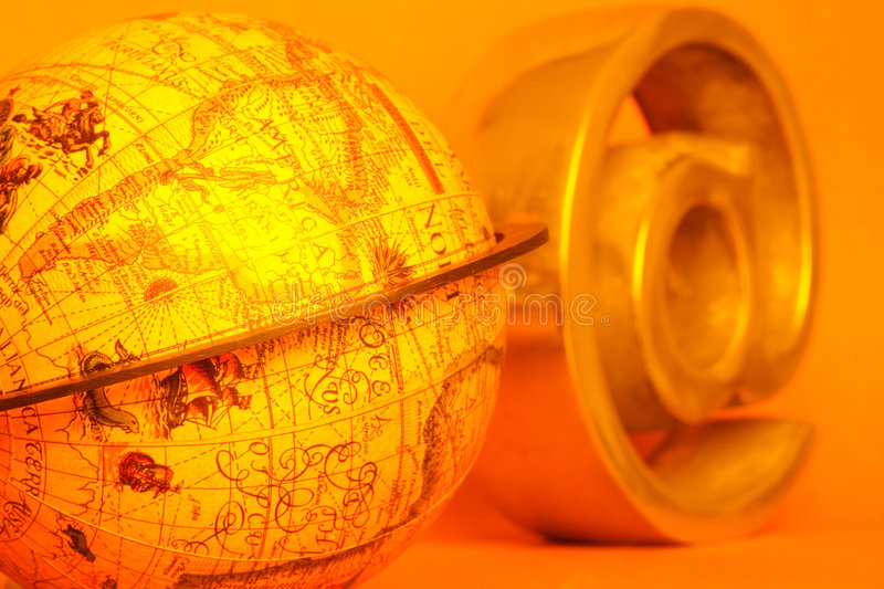 Universal icon. Concept of global communication with world and arroba royalty free stock image
