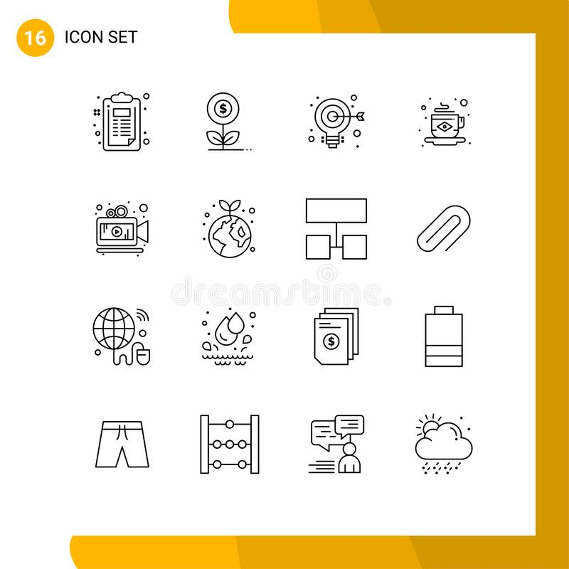 Universal Icon Symbols Group of 16 Modern Outlines of camera, tea, flower, coffee, web. Pack of 16 creative Outlines of camera, tea, flower, coffee, web Editable royalty free illustration