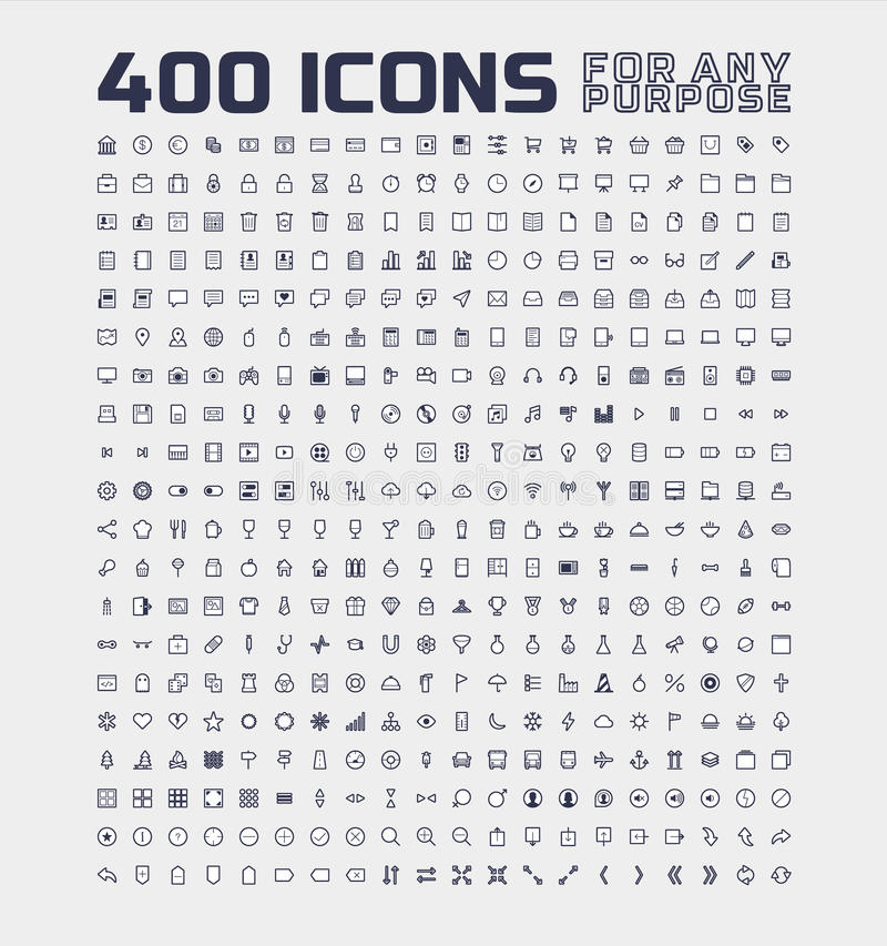 400 Universal Icons for Any Purpose vector illustration