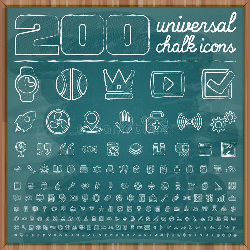 200 Universal Icons in chalk doodle style Set 2 vector illustration