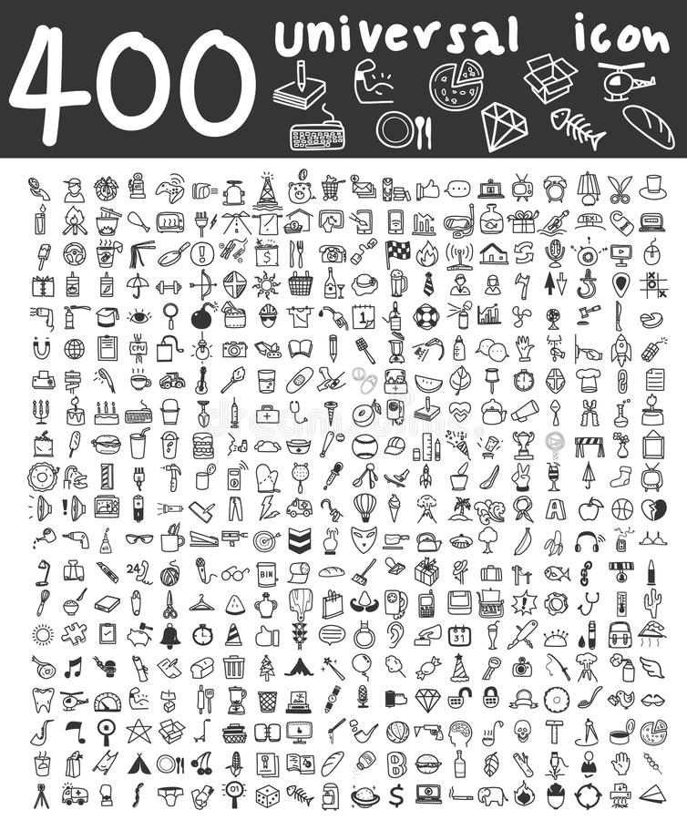 400 Universal icons hand drawn line art cute art illustration royalty free illustration