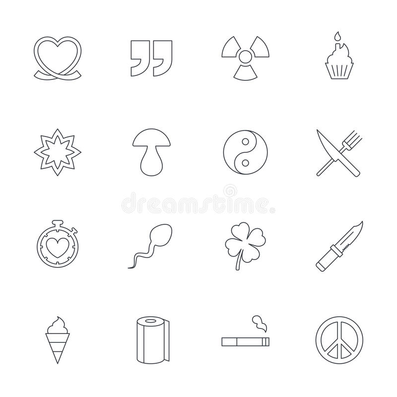 Universal Icons Quotes Ribbon Heart And Cake Stock Vector