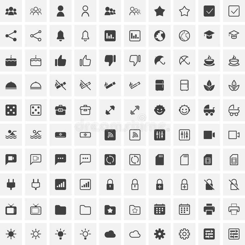 100 Universal Icons For Web and Mobile royalty free illustration
