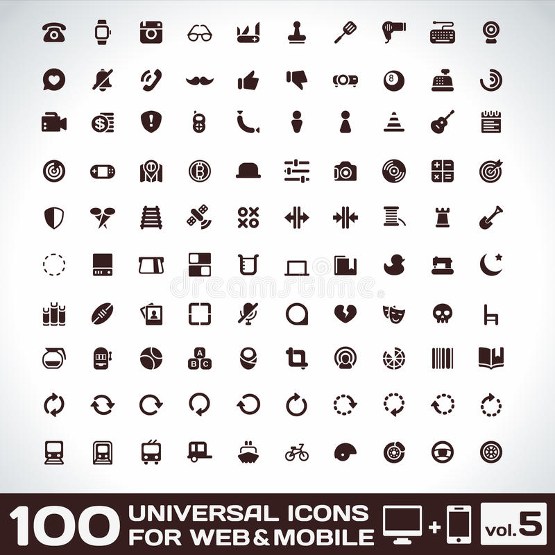 100 Universal Icons For Web and Mobile volume 5 royalty free illustration