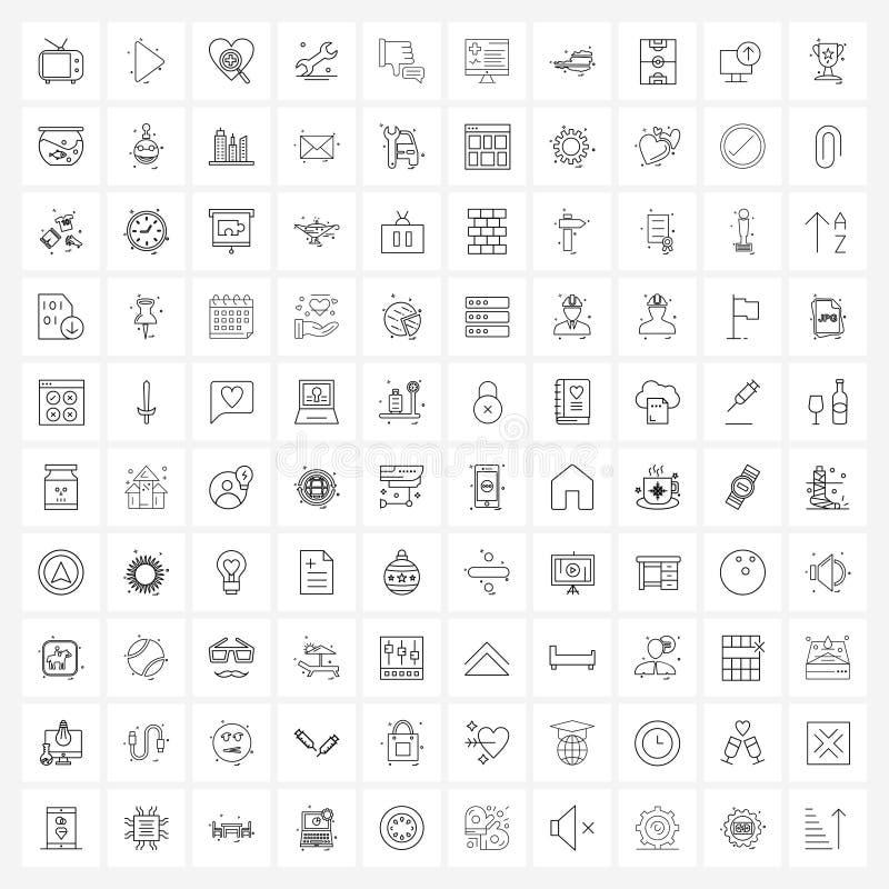 100 Universal Line Icons for Web和Mobile被拒绝的机构、工具、媒体、设置、搜索 皇族释放例证