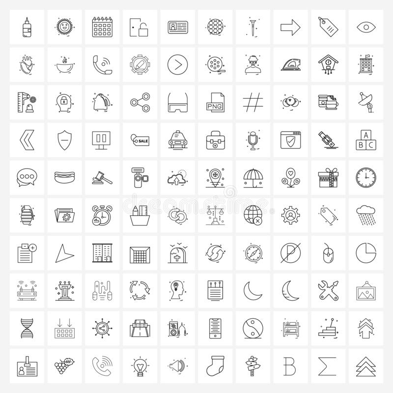 100 Universal Line Icons for Web and Mobile Banking, id, day,解锁,入口 库存例证
