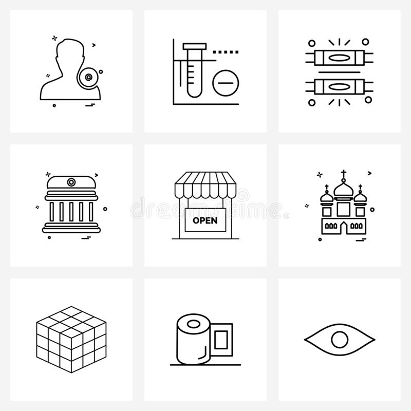 9 Universal Line Icons for Web and Mobile e, building,楼宇, glow, building, house 皇族释放例证