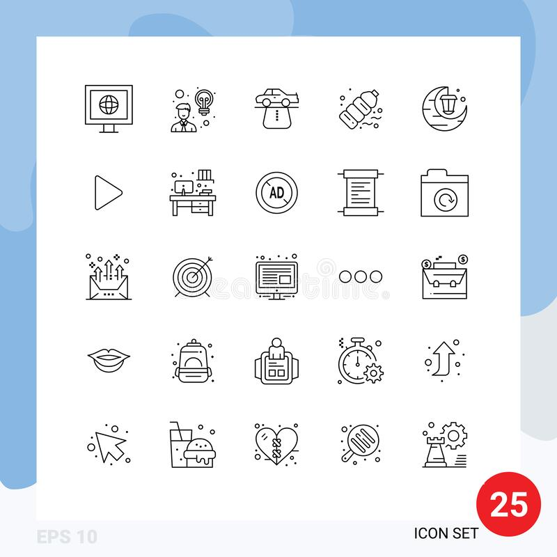 25 Universal Lines Set for Web and Mobile Applications celebrate, pollution, authority, plastic, bottle. 25 Thematic Vector Lines and Editable Symbols of vector illustration