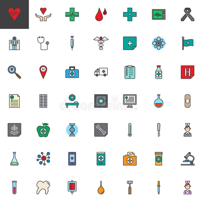 Universal medical elements filled outline icons set. Line vector symbol collection, linear colorful pictogram pack. Signs, logo illustration, Set includes vector illustration
