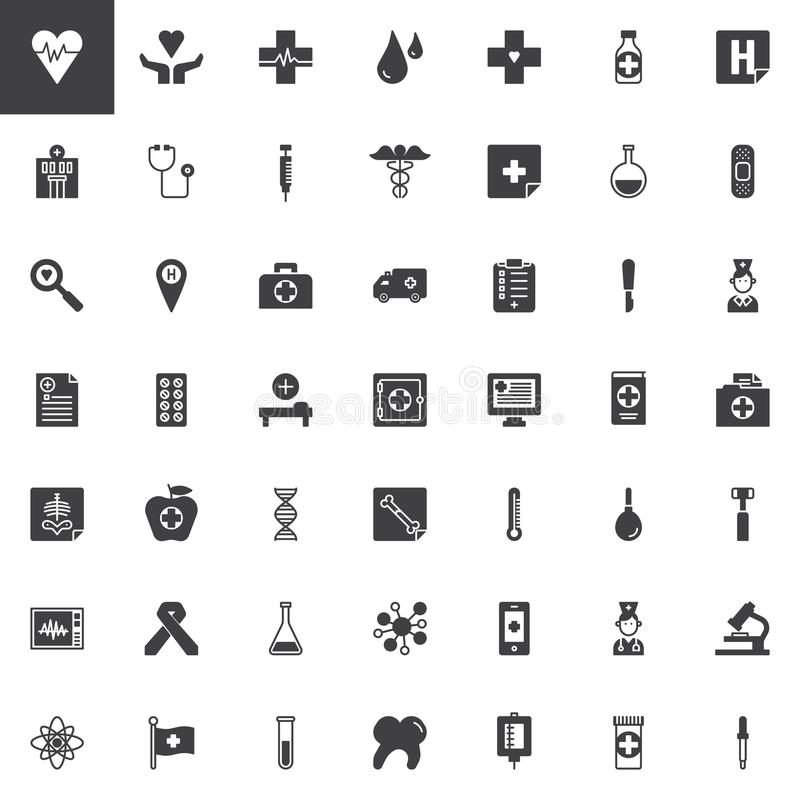Universal medical elements vector icons set vector illustration