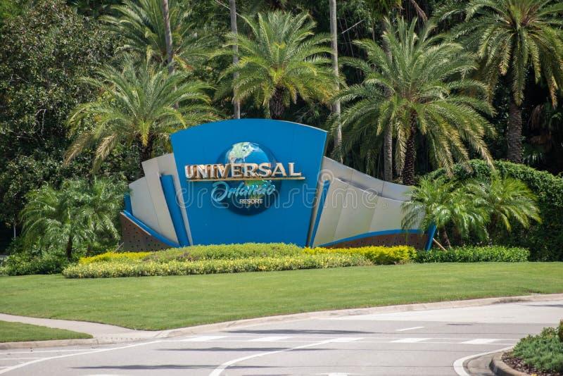 Universal Orlando sign at Universal Studios area 1. stock photo