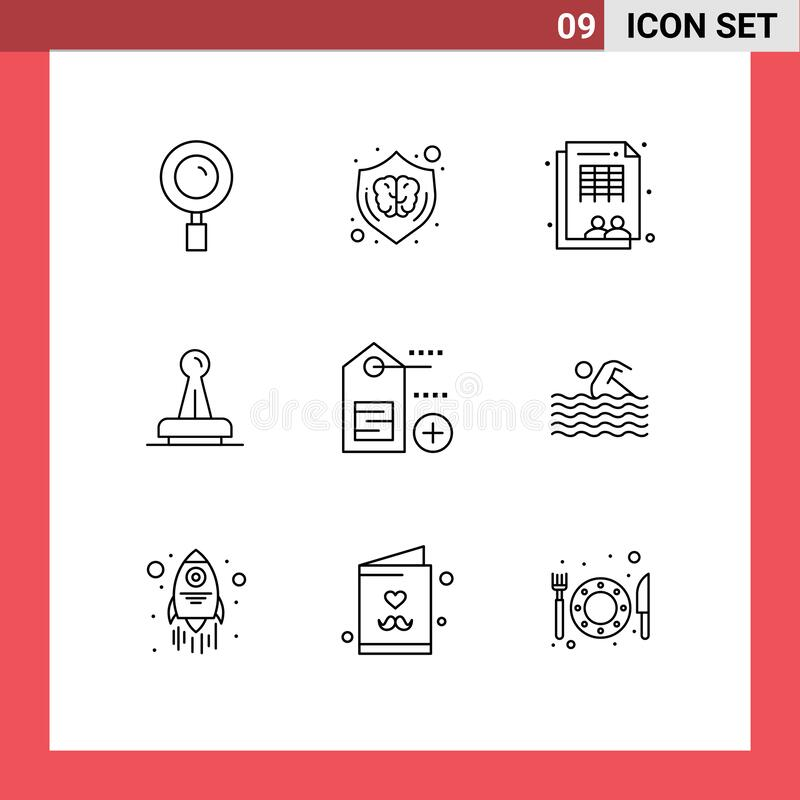 9 Universal Outlines Set for Web and Mobile Applications mark, authority, brain, approval, workforce. Editable Vector Line Pack of 9 Simple Outlines of mark stock illustration