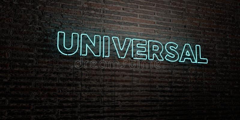 UNIVERSAL - realistiskt neontecken på bakgrund för tegelstenvägg - 3D framförd fri materielbild för royalty stock illustrationer
