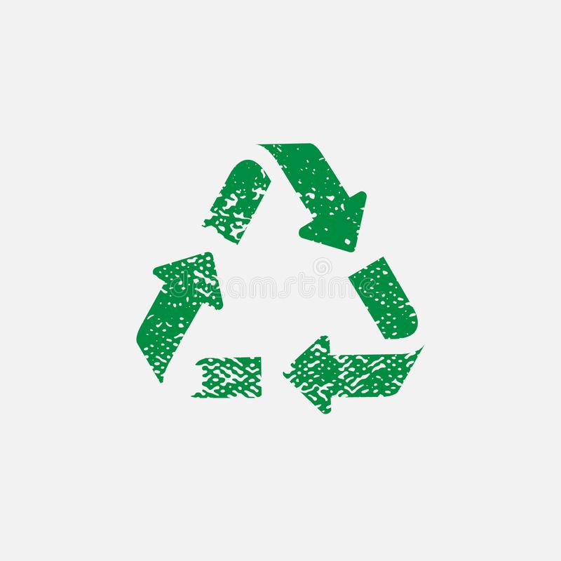 The universal recycling symbol. International symbol used on packaging stock photo