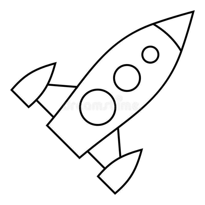 Universal rocket icon, outline style. Universal rocket icon. Outline illustration of universal rocket vector icon for web royalty free illustration