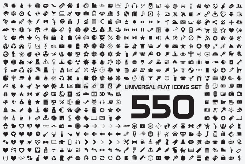 Universal set of 550 icons. 550 icons set black white universal