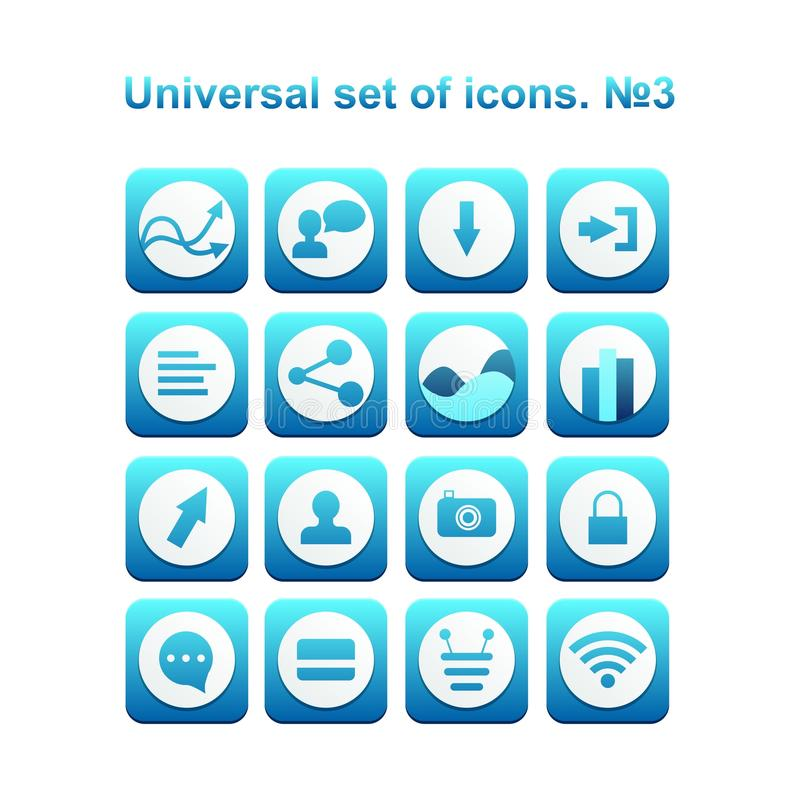 Universal set of icons. A diverse collection of infographics and icons for business royalty free illustration