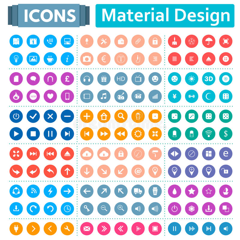 Universal Set of Icons in the Style of Material Design vector illustration