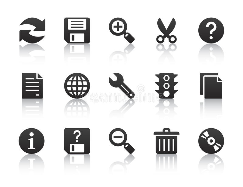 Universal software icons. Black universal software icons with reflections stock illustration