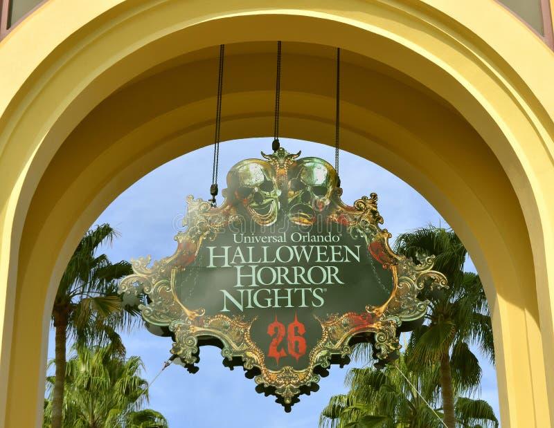 Universal Studio horroru nocy Halloweenowy znak obrazy stock