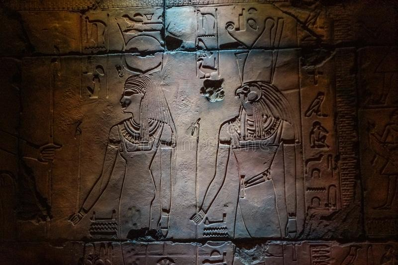 Replica of Egyptian Temple Carvings royalty free stock photos