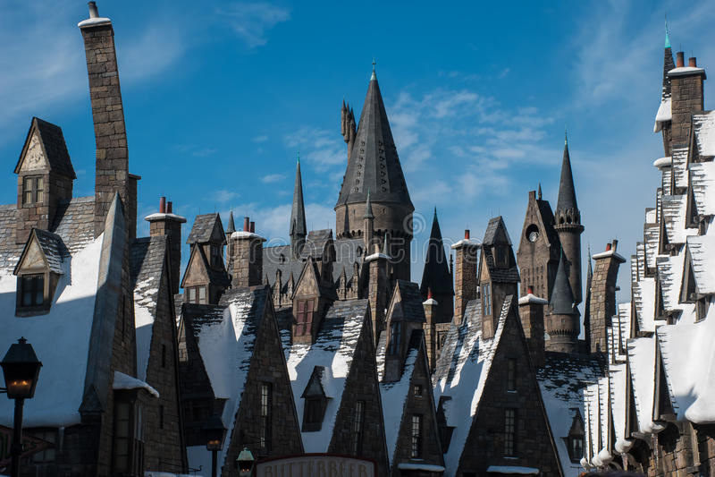 Universal Studios-Dachoberteile von Hogsmead stockfotografie