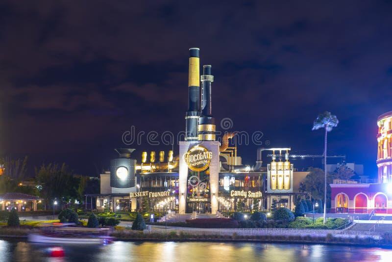 Universal Studios en la noche en Orlando universal, FL, los E.E.U.U. fotografía de archivo libre de regalías